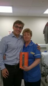 Bonnie Morrison accepts her prize from DP Medical's Jonathan Depledge.
